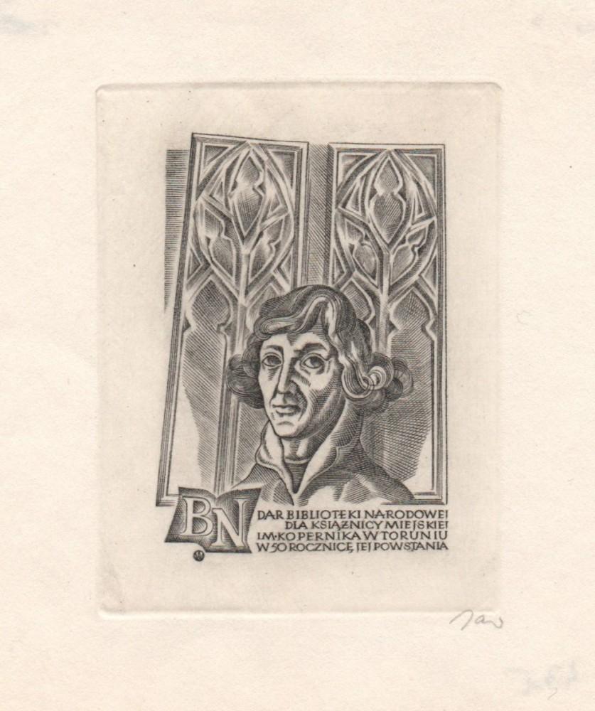 Exlibris BN  Dar Biblioteki Narodowej dla Książnicy Miejskiej im. Mikołaja Kopernika w Toruniu  w 50 rocznicę jej powstania.