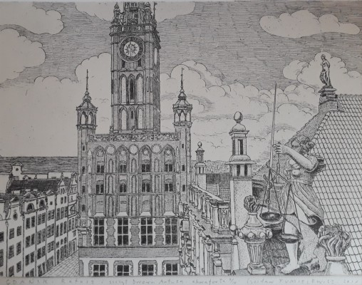 Gdańsk Ratusz i  szczyt Dworu Artusa